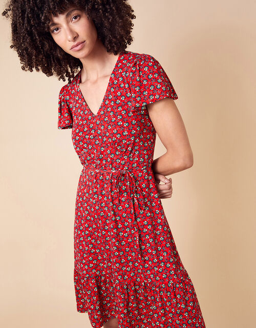Floral Print Jersey Dress, Red (RED), large