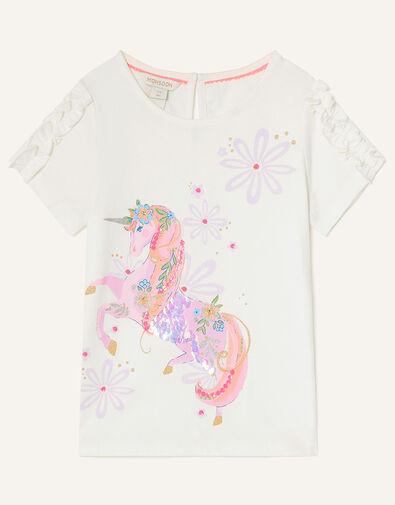 Floral Unicorn T-Shirt Ivory, Ivory (IVORY), large