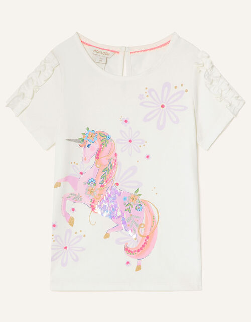 Floral Unicorn T-Shirt, Ivory (IVORY), large