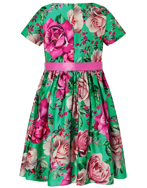 S.E.W Floral Print Satin Dress in Recycled Polyester, Green (GREEN), large