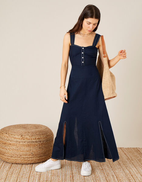 Contrast Stitch Dress in Linen Blend   Blue, Blue (NAVY), large
