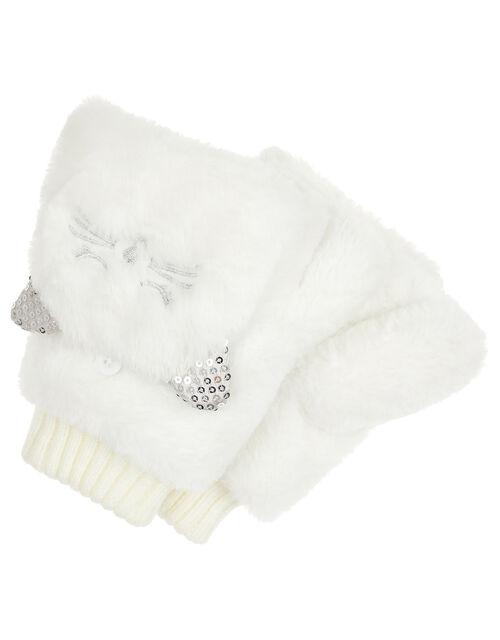Peppi Sequin Cat Capped Gloves, Ivory (IVORY), large