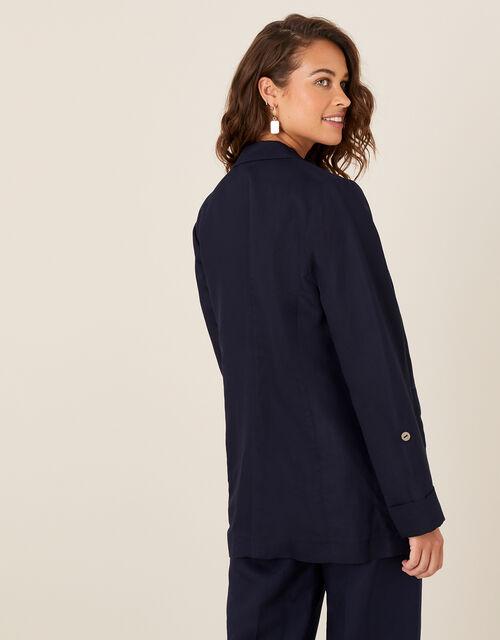 Smart Longline Blazer in Linen Blend, Blue (NAVY), large