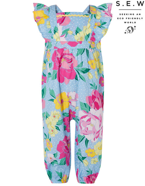 Baby Brea Floral Jumpsuit in Organic Cotton, Blue (BLUE), large