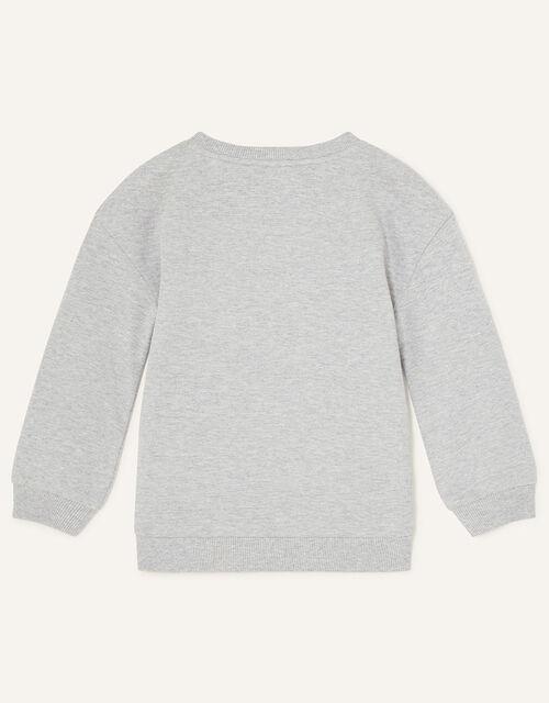 Sequin Floral Cat Sweatshirt, Grey (GREY), large