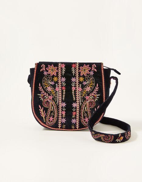 Embroidered Saddle Cross-Body Bag , , large