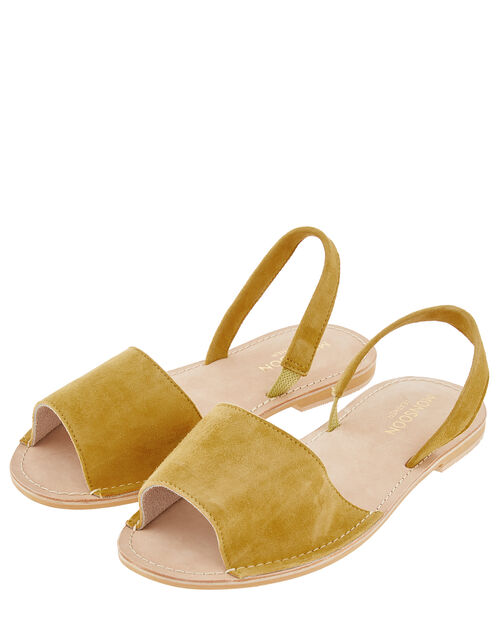 Minnie Peeptoe Sandals in Suede and Leather, Yellow (OCHRE), large