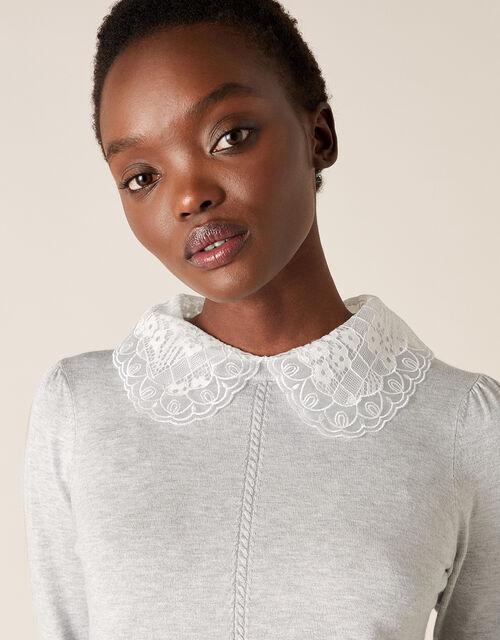 Lace Collar Jumper, Grey (GREY MARL), large