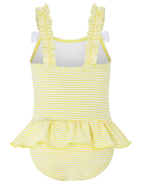 Baby Bow Seersucker Swimsuit, Yellow (YELLOW), large