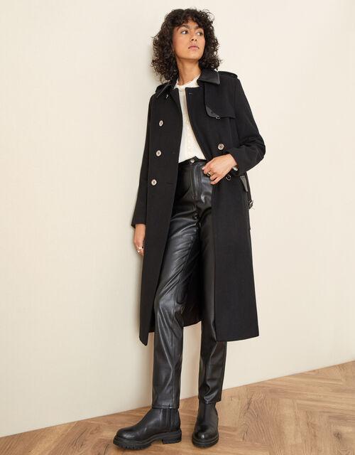 Anne Trench Coat in Wool Blend, Black (BLACK), large