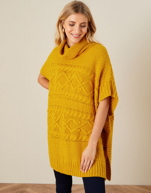 Button Side Cable Knit Poncho, , large