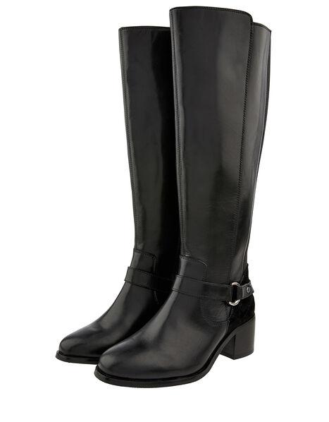 Edie Long Leather Boots Black, Black (BLACK), large
