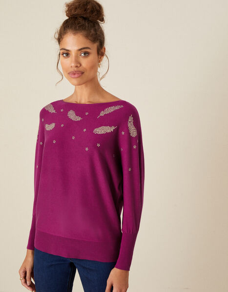 Heat-Seal Feather Jumper Pink, Pink (MAGENTA), large