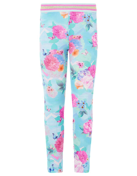 Floral Print Leggings Blue, Blue (TURQUOISE), large