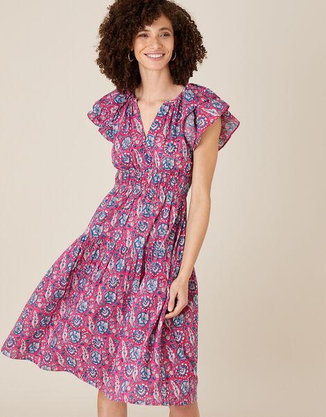 ARTISAN STUDIO Woodblock Print Dress Pink, Pink (PINK), large