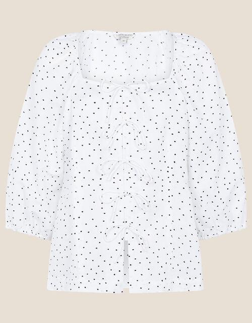 Tie Front Spot Print Blouse, White (WHITE), large