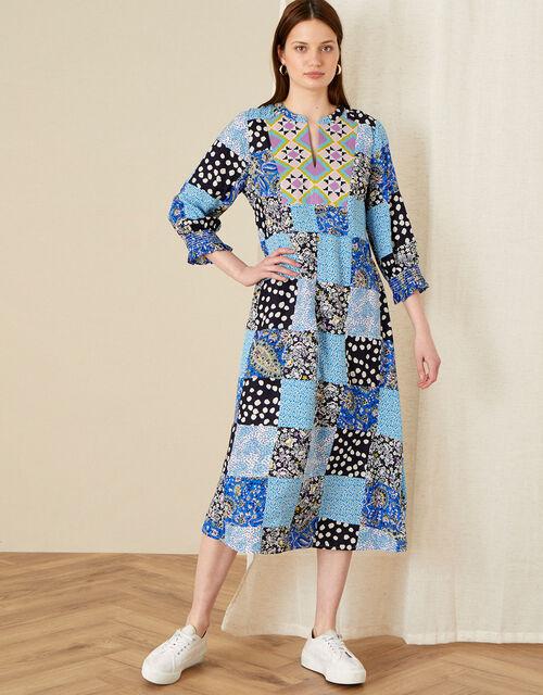 Patchwork Print Midi Dress, Blue (BLUE), large