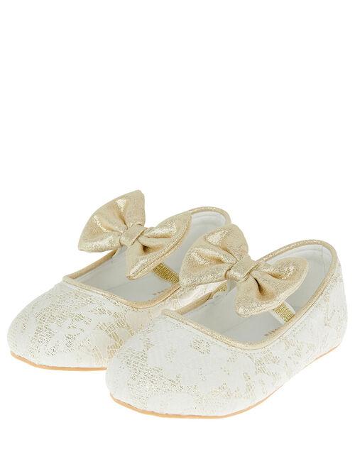 Bow Jacquard Walker Shoes, Ivory (IVORY), large