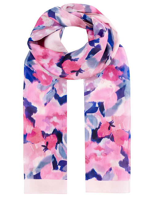Blurred Floral Print Scarf in Pure Silk, , large