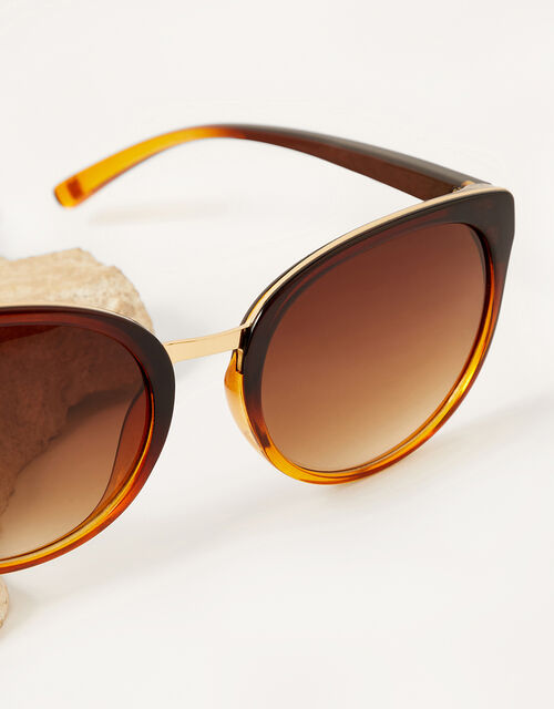 Perla Preppy Sunglasses, Brown (BROWN), large