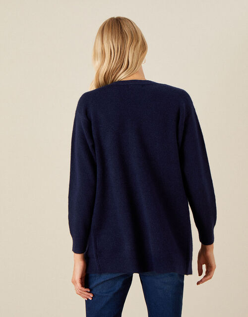 Pierre Floral Embroidered Cardigan, Blue (NAVY), large