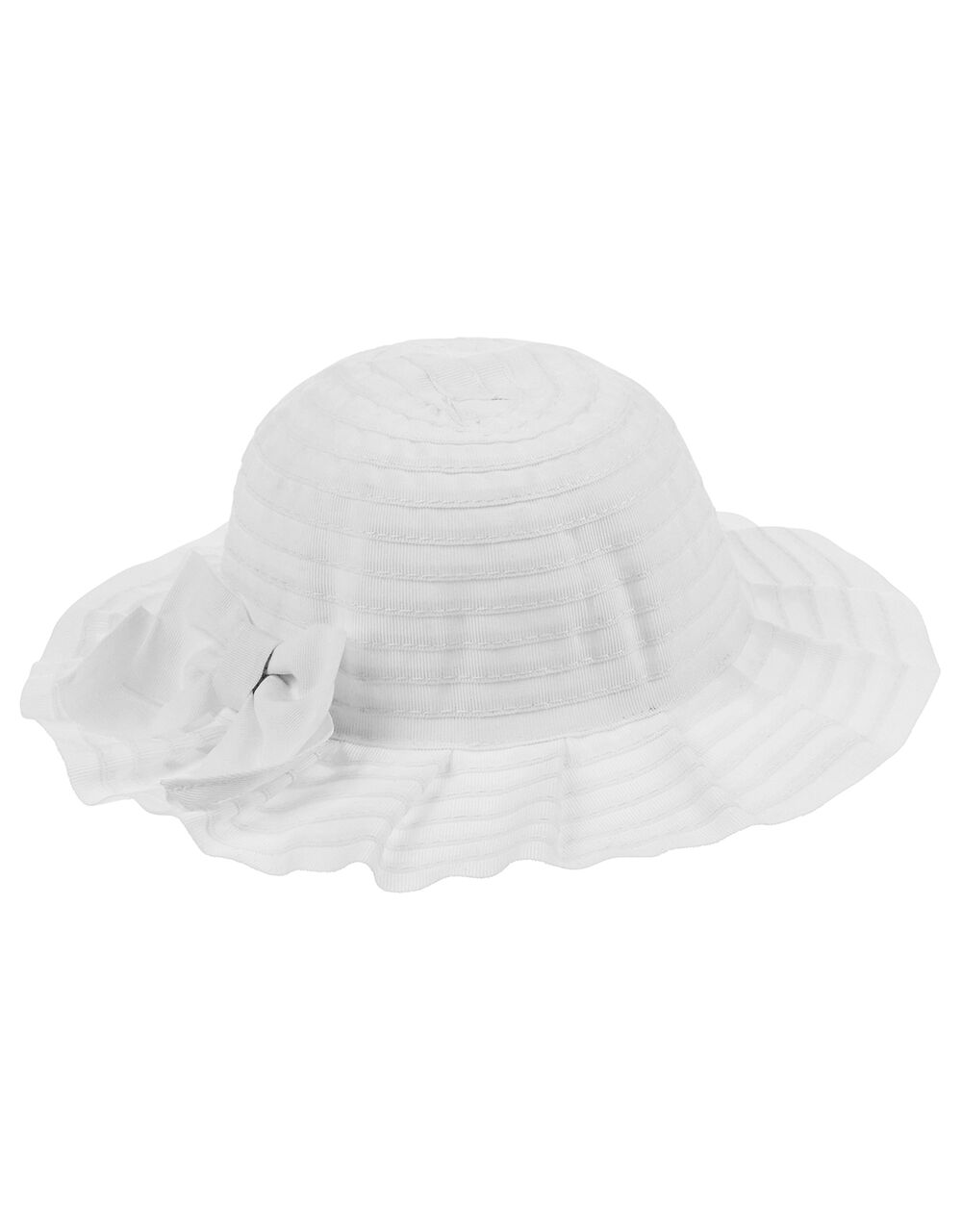 Baby Ruby Pleated Hat with Bow, White (WHITE), large