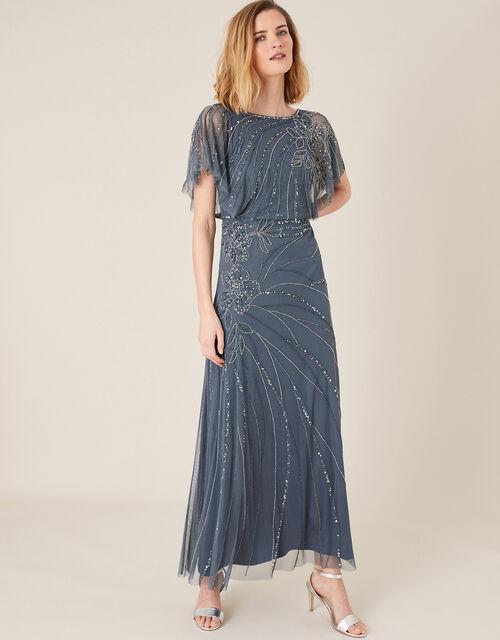 Autumn Floral Embellished Maxi Dress, Blue (BLUE), large