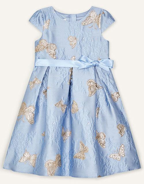 Butterfly Jacquard Dress, Blue (BLUE), large