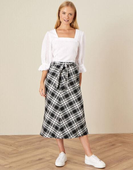 Ashanti Check Bias Skirt Black, Black (BLACK), large