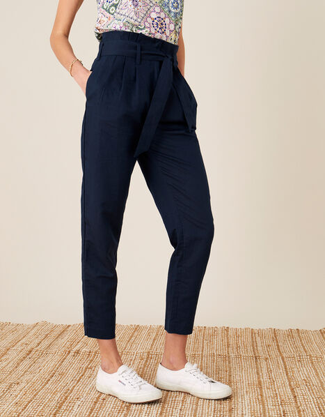 Pam Paperbag Trousers in Pure Linen Blue, Blue (NAVY), large
