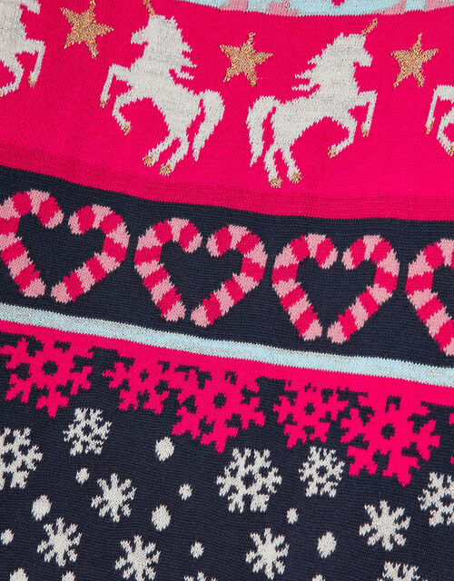 Unicorn Fair Isle Knit Dress, Red (RED), large