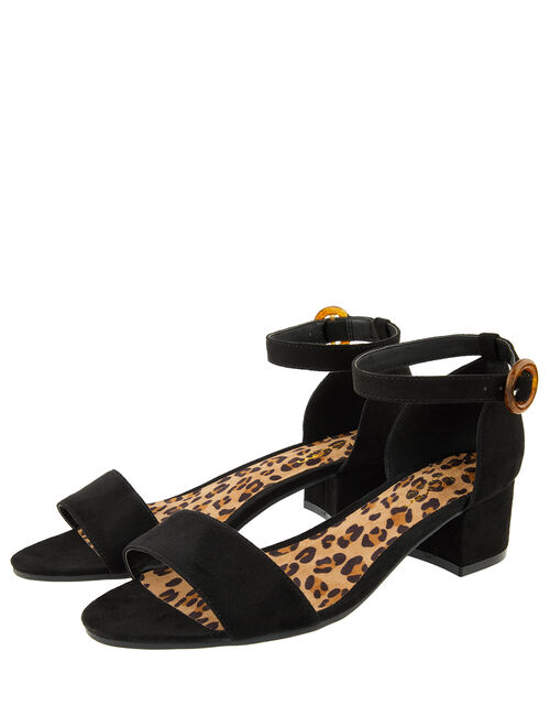 Tortoiseshell Buckle Low Block Heel Sandals, Black (BLACK), large