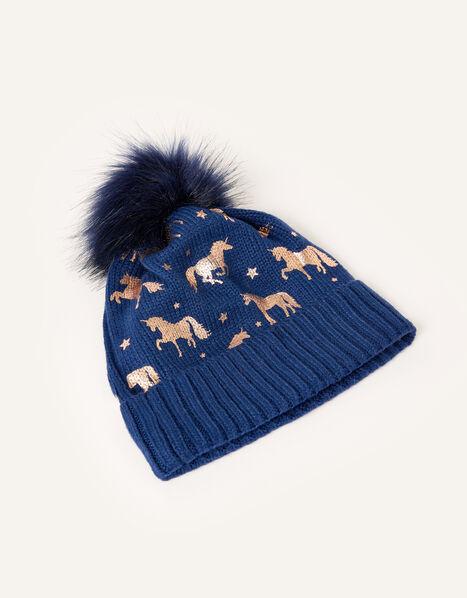 Metallic Unicorn Beanie Blue, Blue (NAVY), large