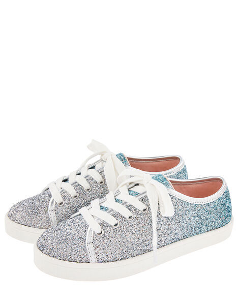 Frosted Ombre Glitter Trainers Blue, Blue (BLUE), large