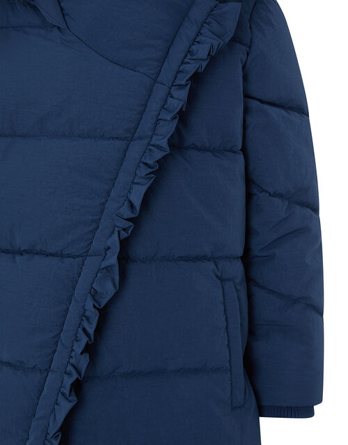 Ruffle Asymmetric Padded Coat with Recycled Fabric, Blue (NAVY), large