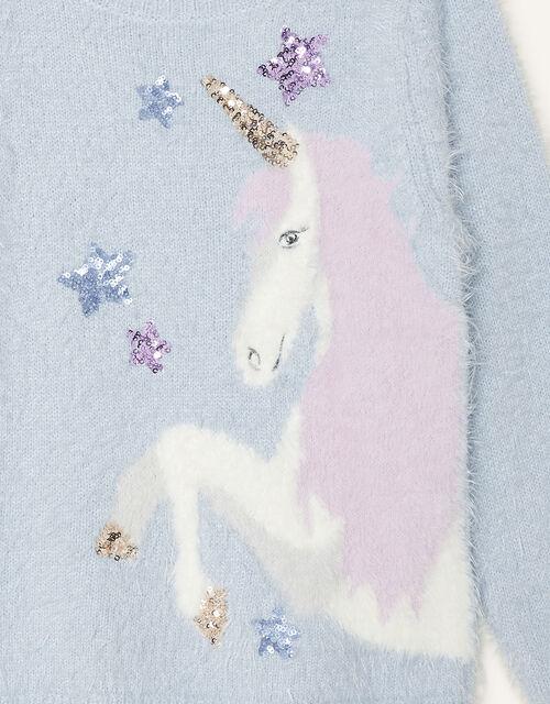 Sequin Unicorn Fluffy Jumper, Blue (BLUE), large