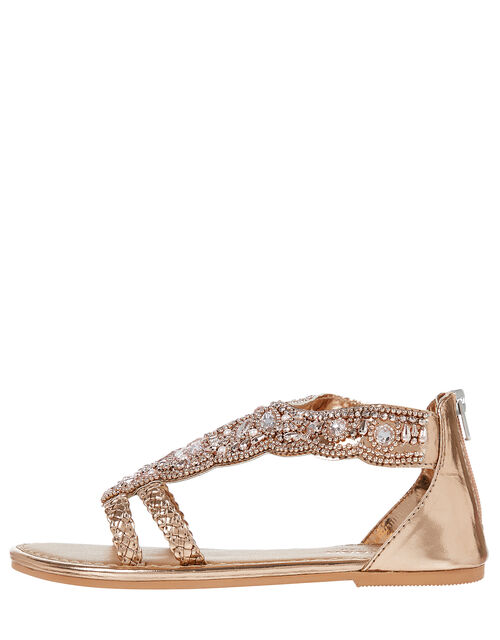 Valencia Bead and Gem Sandals, Gold (ROSE GOLD), large