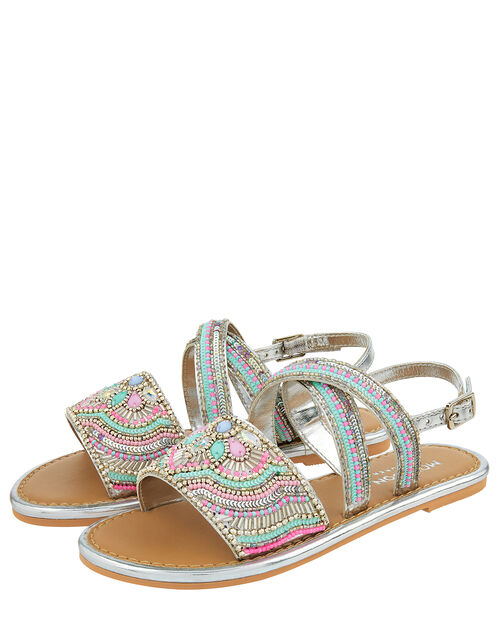 Allie Silver Beaded Sandals, Silver (SILVER), large