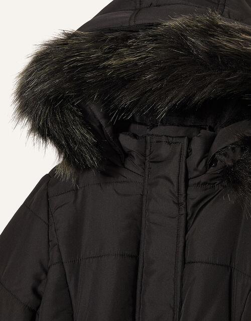 Longline Padded and Hooded Coat, Black (BLACK), large