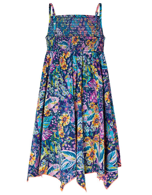 Isobelline Floral Dress in Recycled Polyester, Blue (NAVY), large