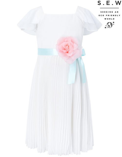 Lexis Sustainable Pleated Occasion Dress, Ivory (IVORY), large