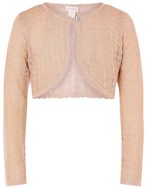 Metallic Pointelle Knit Cardigan Gold, Gold (ROSE GOLD), large