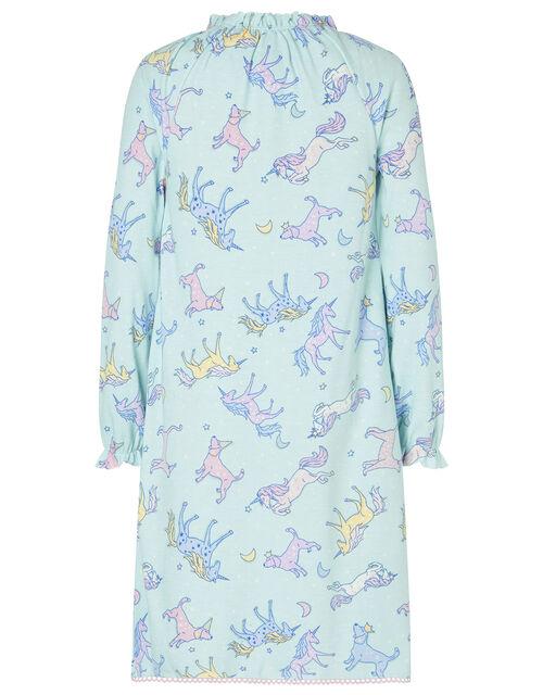 Unicorn Print Nightdress, Blue (AQUA), large