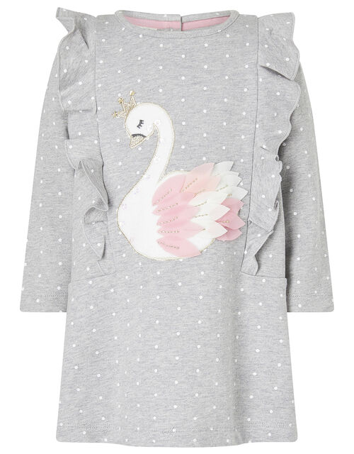 Baby Swan Sweat Dress and Tights Set, Grey (GREY), large