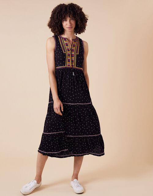 Malakai Embroidered Jersey Midi Dress, Black (BLACK), large