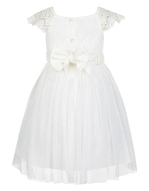 Baby Estella Crochet Bodice Occasion Dress, Ivory (IVORY), large