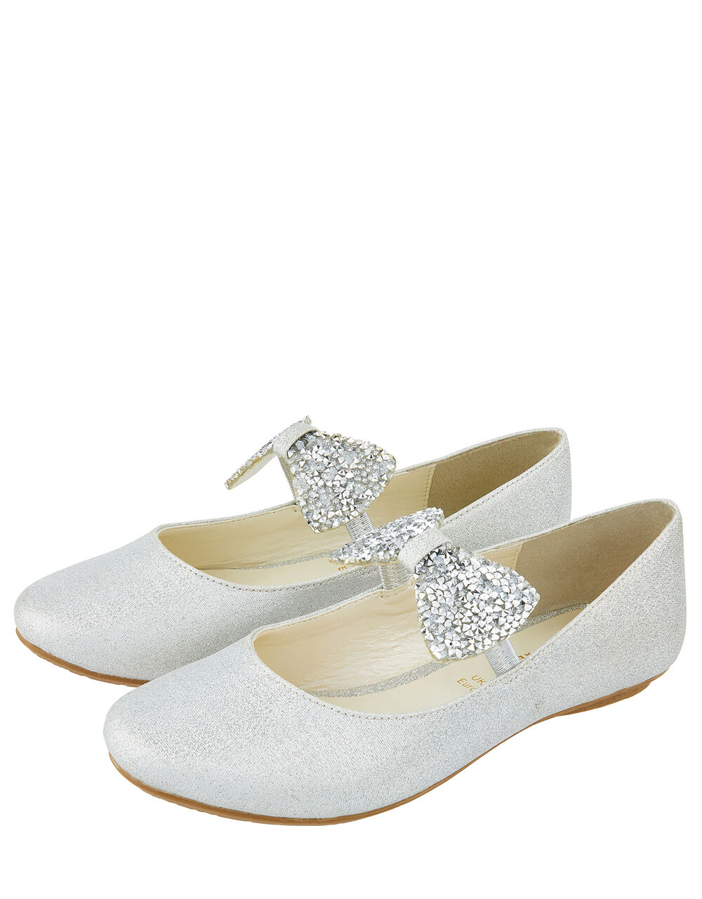 Everly Dazzle Bow Glitter Shoes, Silver (SILVER), large