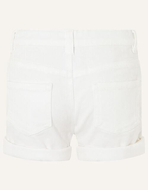 Denim Shorts, White (WHITE), large