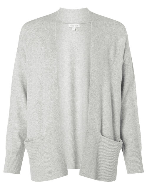 Wide Pocket Knit Cardigan, Grey (GREY MARL), large