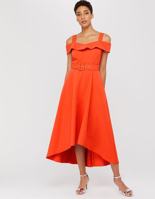 Consuela Cross Neck Dress, Orange (ORANGE), large